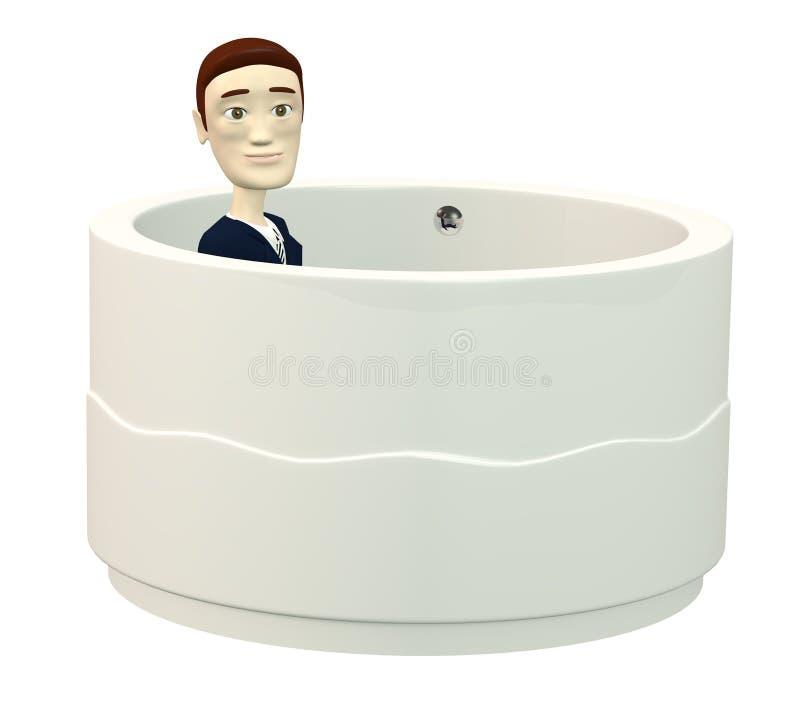 Επιχειρηματίας κινούμενων σχεδίων στην μπανιέρα απεικόνιση αποθεμάτων