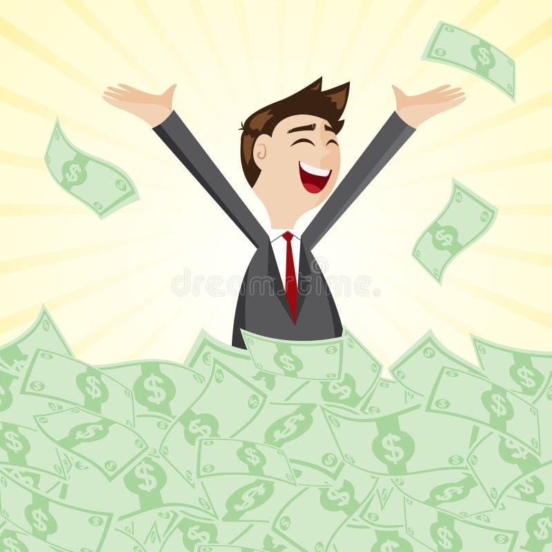 Επιχειρηματίας κινούμενων σχεδίων στο σωρό των μετρητών χρημάτων ελεύθερη απεικόνιση δικαιώματος