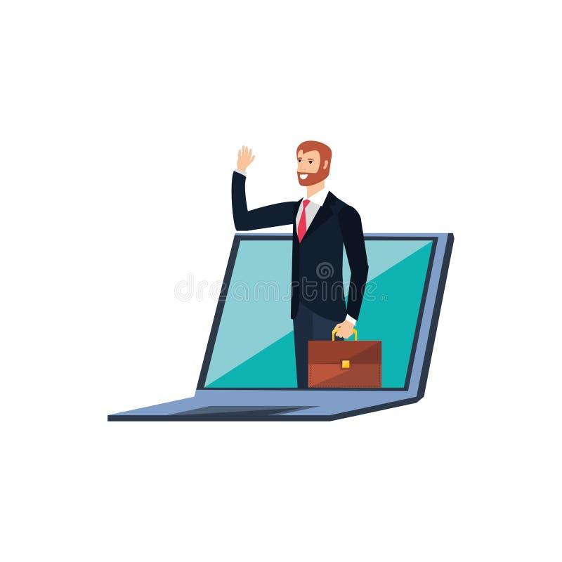 Επιχειρηματίας κομψός στο φορητό προσωπικό υπολογιστή απεικόνιση αποθεμάτων