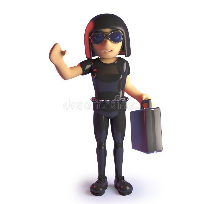 Επιχειρηματίας κοριτσιών Goth με το χαρτοφύλακα που κυματίζει, τρισδιάστατη απεικόνιση διανυσματική απεικόνιση