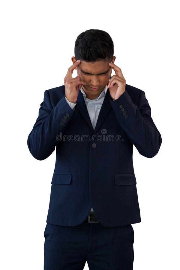 Επιχειρηματίας με επικεφαλής διαθέσιμο να πάσσει από τον πονοκέφαλο στοκ εικόνα με δικαίωμα ελεύθερης χρήσης