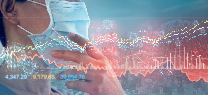 Επιχειρηματίας με μάσκα, ανάλυση του οικονομικού αντίκτυπου του ιού της κορόνα, κρίση και οικονομικές και χρηματοπιστωτικές συνθή στοκ εικόνα