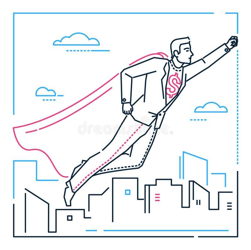 Επιχειρηματίας με μια υπερδύναμη - απεικόνιση ύφους σχεδίου γραμμών ελεύθερη απεικόνιση δικαιώματος