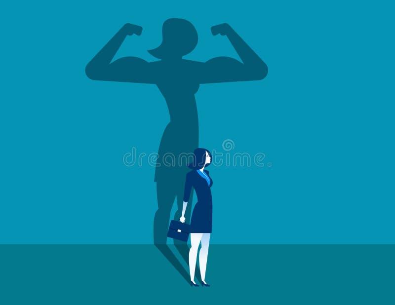 Επιχειρηματίας με μια δύναμη σκιών και σταδιοδρομίας Επιχείρηση έννοιας διανυσματική απεικόνιση