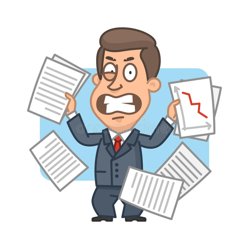 Επιχειρηματίας με τα έγγραφαα  διανυσματική απεικόνιση
