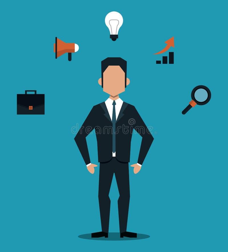 Επιχειρηματίας με τα κινούμενα σχέδια εργαλείων απεικόνιση αποθεμάτων