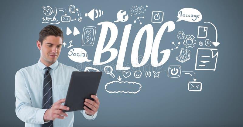 Επιχειρηματίας με τα σχέδια επιχειρησιακής γραφικής παράστασης ταμπλετών και Blog απεικόνιση αποθεμάτων