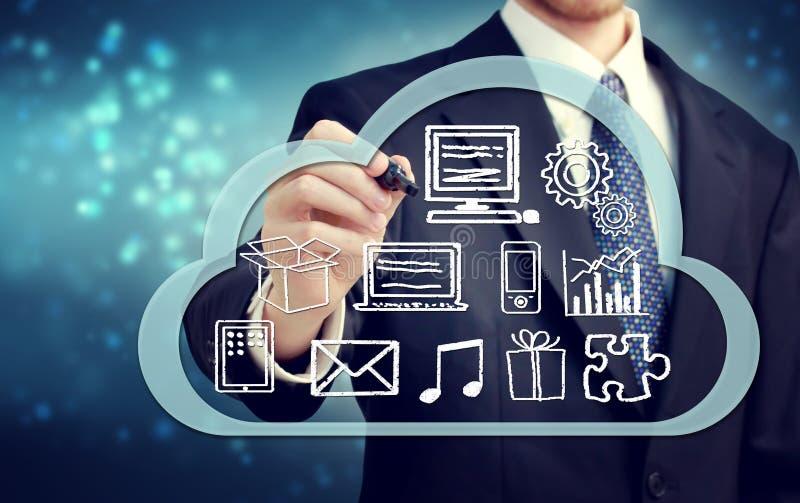 Επιχειρηματίας με την έννοια υπολογισμού σύννεφων απεικόνιση αποθεμάτων