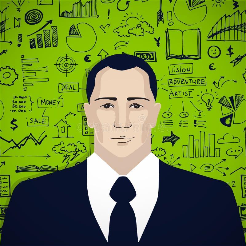 Επιχειρηματίας με την επιχείρηση doodles απεικόνιση αποθεμάτων