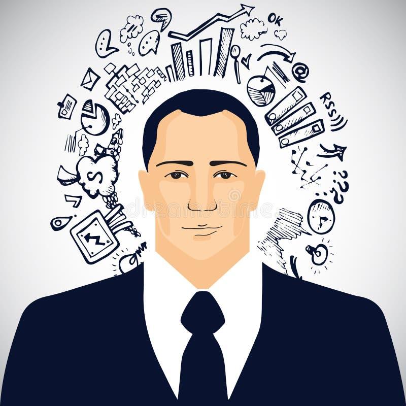 Επιχειρηματίας με την επιχείρηση doodles ελεύθερη απεικόνιση δικαιώματος