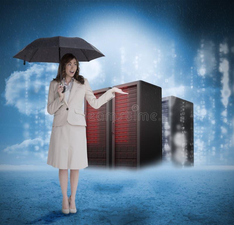 Επιχειρηματίας με την ομπρέλα μπροστά από τους κόκκινους κεντρικούς υπολογιστές απεικόνιση αποθεμάτων
