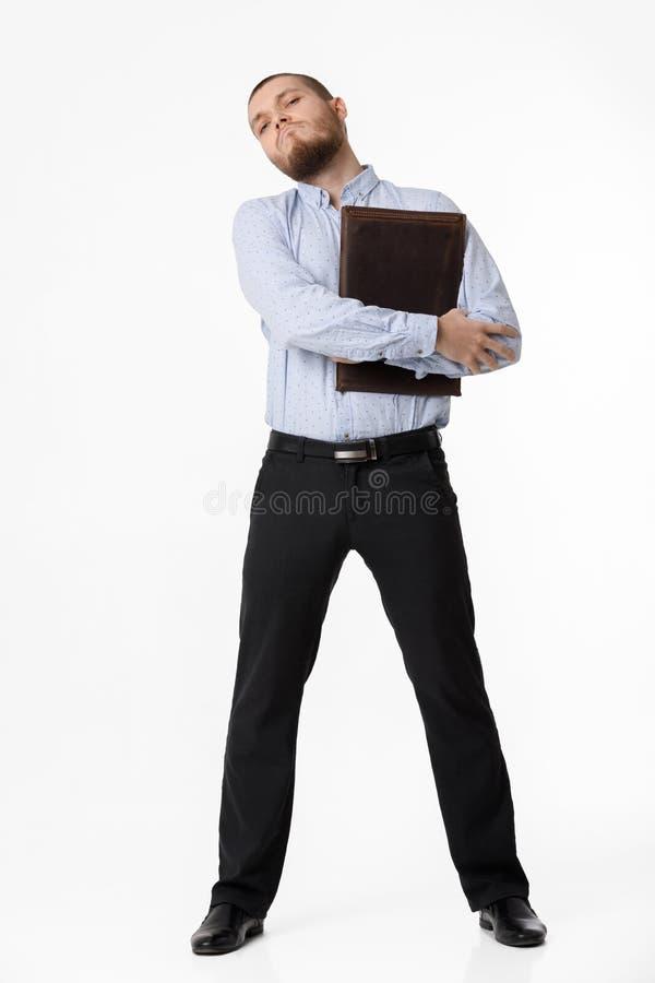 Επιχειρηματίας με την περίπτωση δέρματος στο άσπρο υπόβαθρο στοκ εικόνες