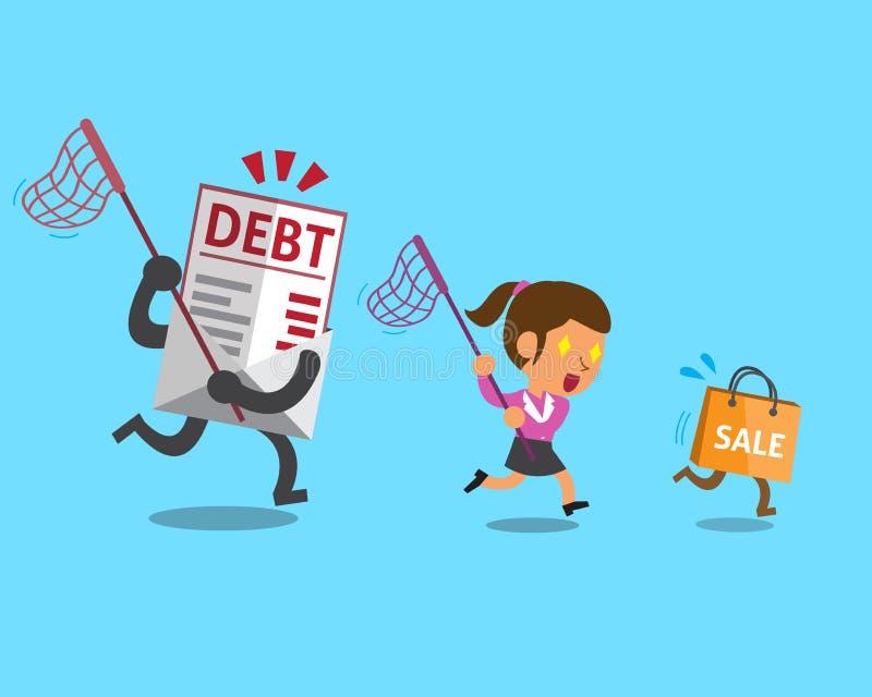 Επιχειρηματίας με την τσάντα αγορών και την επιστολή χρέους απεικόνιση αποθεμάτων