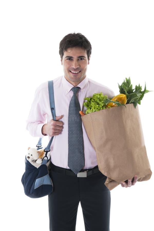 Επιχειρηματίας με την τσάντα πανών και την τσάντα αγορών στοκ εικόνες με δικαίωμα ελεύθερης χρήσης