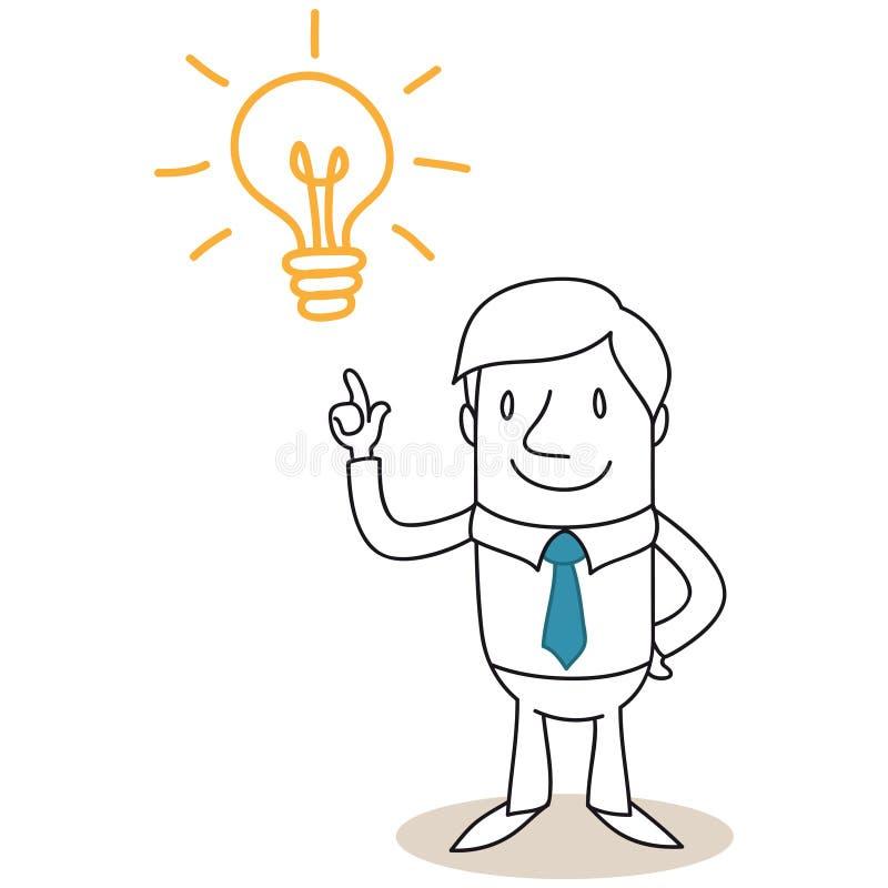 Επιχειρηματίας με τη λάμπα φωτός που έχει την ιδέα ελεύθερη απεικόνιση δικαιώματος