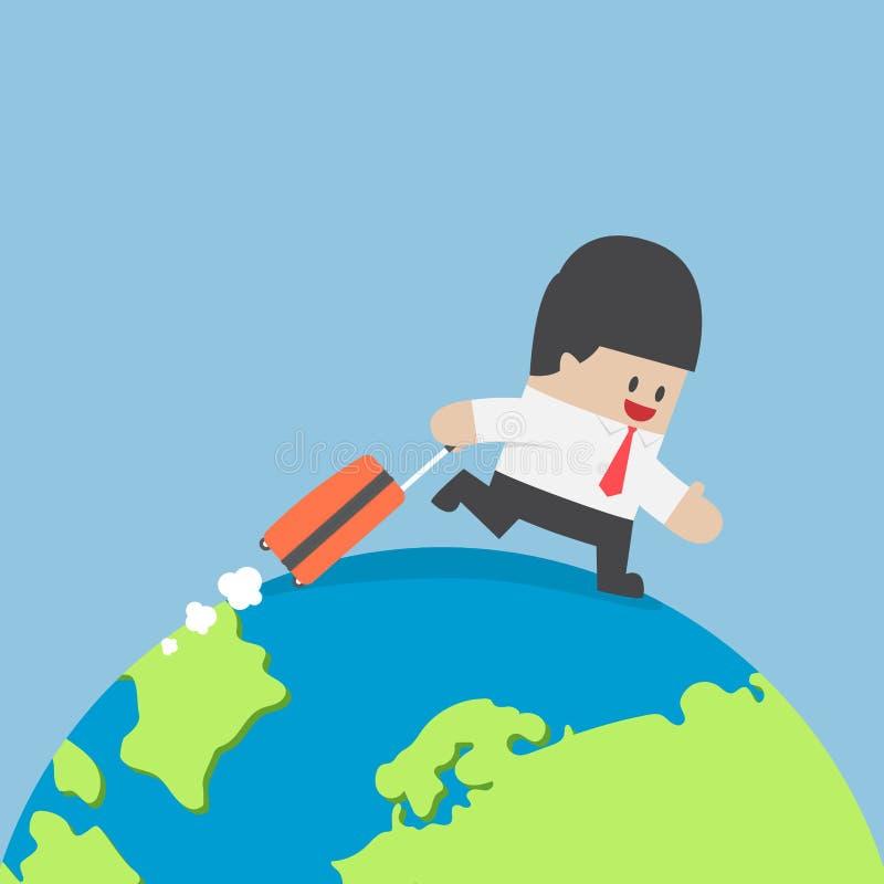 Επιχειρηματίας με τη βαλίτσα που περπατά σε όλο τον κόσμο ελεύθερη απεικόνιση δικαιώματος