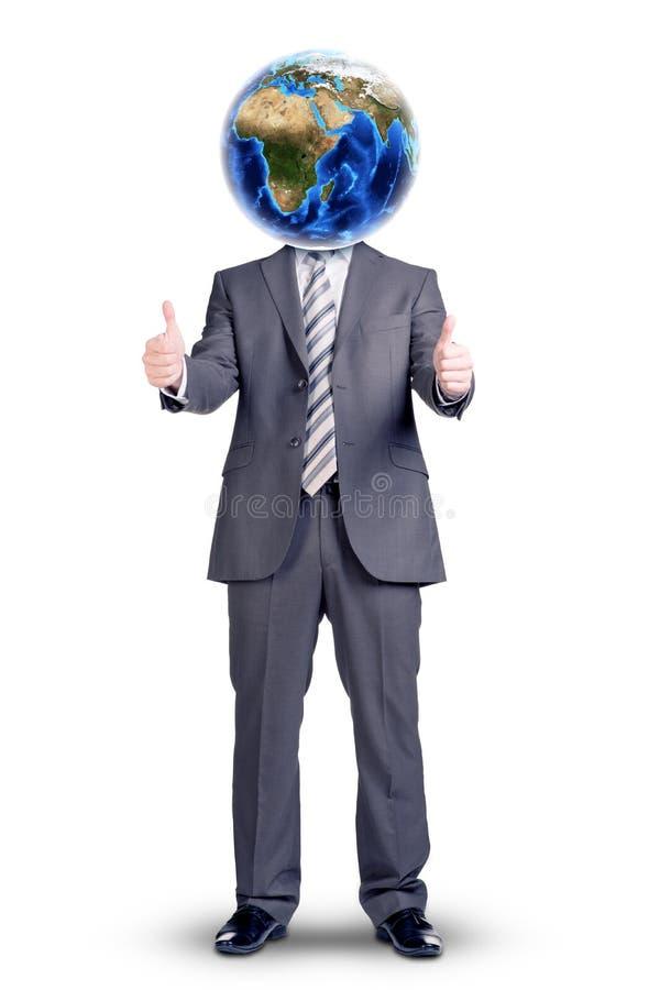 Επιχειρηματίας με τη γήινη αντ' αυτού επικεφαλής παρουσίαση εντάξει στοκ εικόνα με δικαίωμα ελεύθερης χρήσης