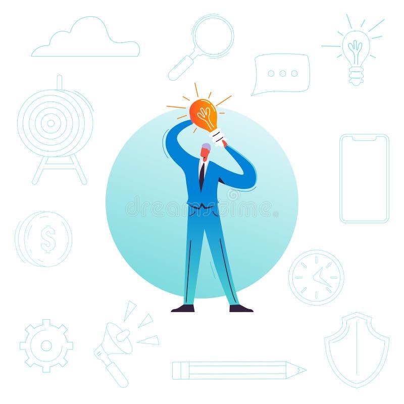 Επιχειρηματίας με τη λάμπα φωτός Δημιουργική ιδέα, καινοτομία, έννοια 'brainstorming' Αρσενική ηγεσία χαρακτήρα, ξεκίνημα ελεύθερη απεικόνιση δικαιώματος