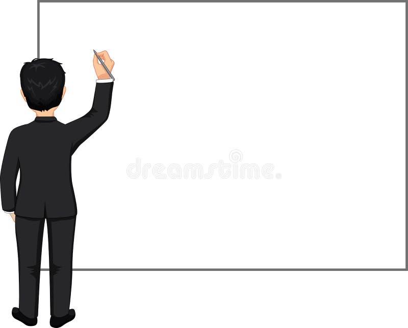 Επιχειρηματίας με τη μάνδρα και κενός πίνακας ελεύθερη απεικόνιση δικαιώματος