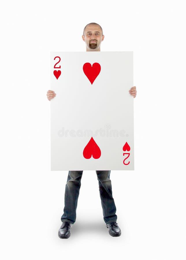 Επιχειρηματίας με τη μεγάλη κάρτα παιχνιδιού στοκ εικόνες με δικαίωμα ελεύθερης χρήσης