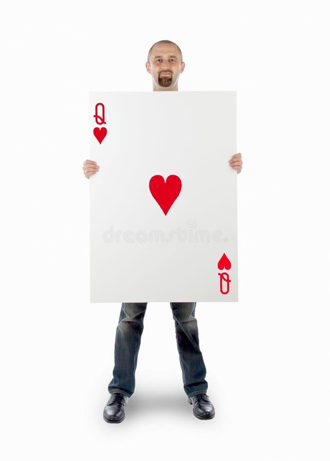 Επιχειρηματίας με τη μεγάλη κάρτα παιχνιδιού στοκ φωτογραφία