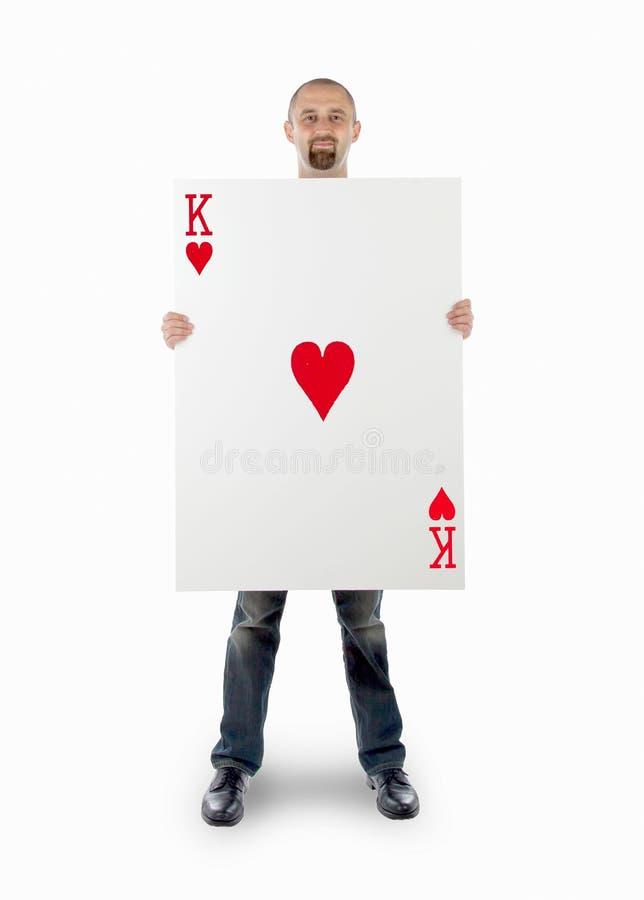Επιχειρηματίας με τη μεγάλη κάρτα παιχνιδιού στοκ φωτογραφία με δικαίωμα ελεύθερης χρήσης
