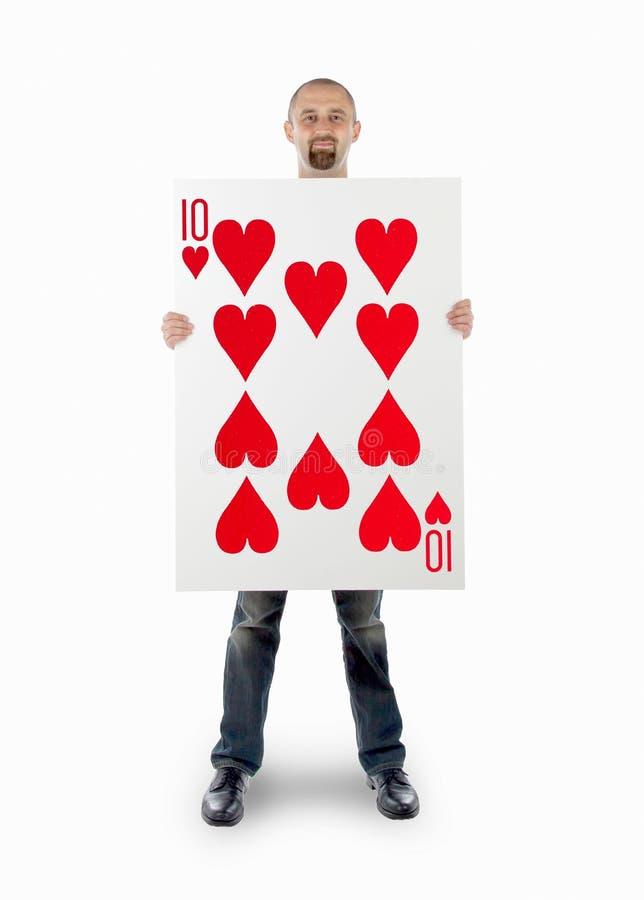Επιχειρηματίας με τη μεγάλη κάρτα παιχνιδιού στοκ φωτογραφίες με δικαίωμα ελεύθερης χρήσης