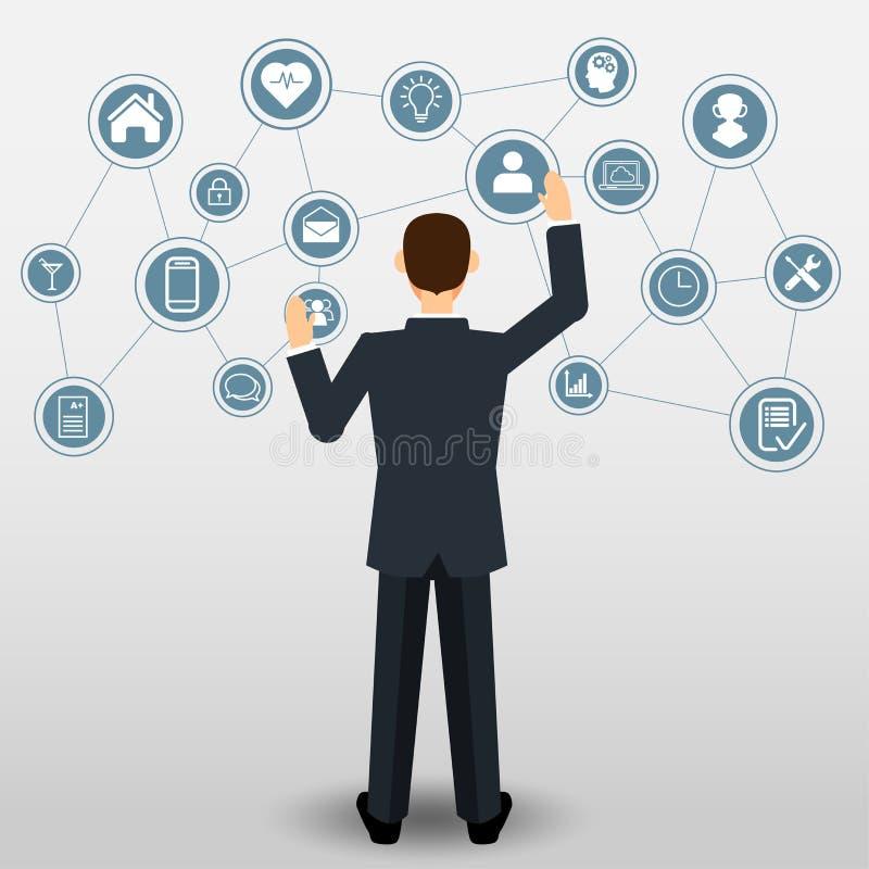 Επιχειρηματίας με τη σύνδεση επιχειρησιακών εικονιδίων απεικόνιση αποθεμάτων