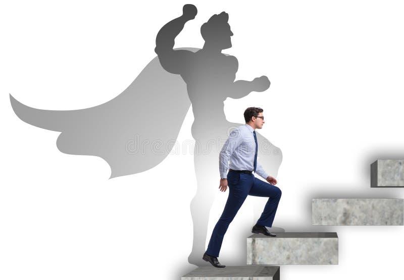 Επιχειρηματίας με τη φιλοδοξία να γίνει superhero στοκ φωτογραφία