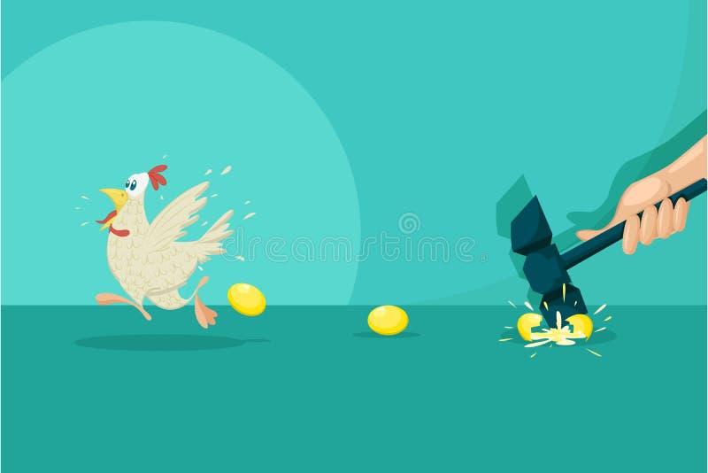 Επιχειρηματίας με τη χρυσή κότα αυγών διανυσματική απεικόνιση