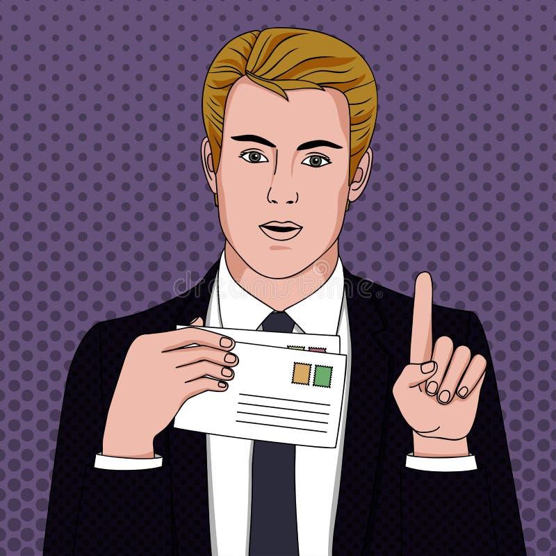 Επιχειρηματίας με τις επιστολές απεικόνιση αποθεμάτων