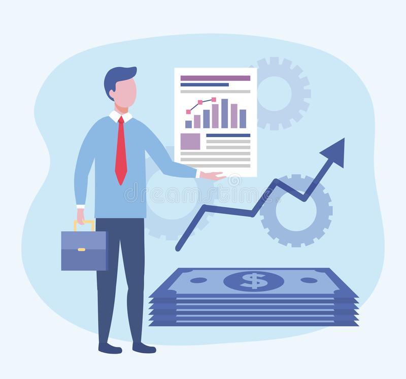 Επιχειρηματίας με τις πληροφορίες εγγράφων φραγμών στατιστικών ελεύθερη απεικόνιση δικαιώματος