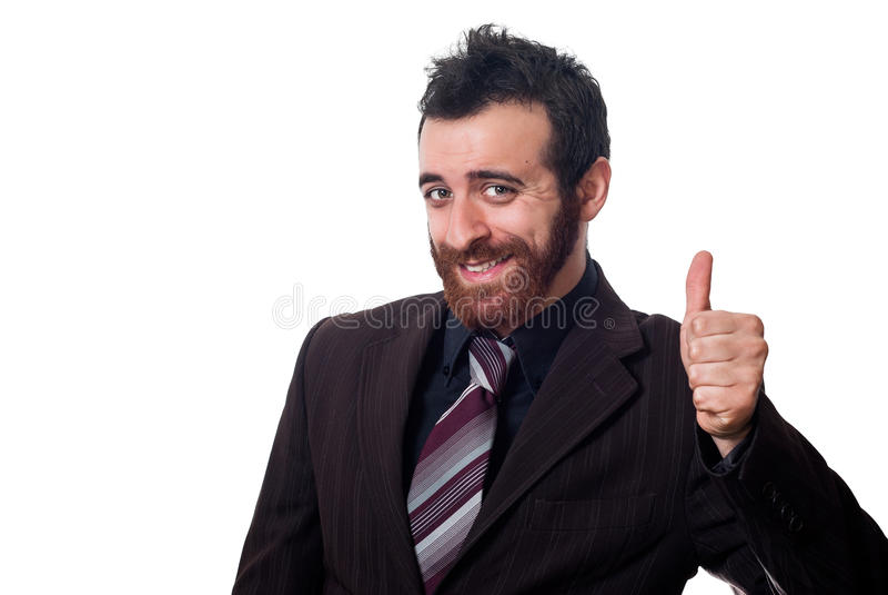 Επιχειρηματίας με τον αντίχειρα επάνω στο λευκό στοκ εικόνες