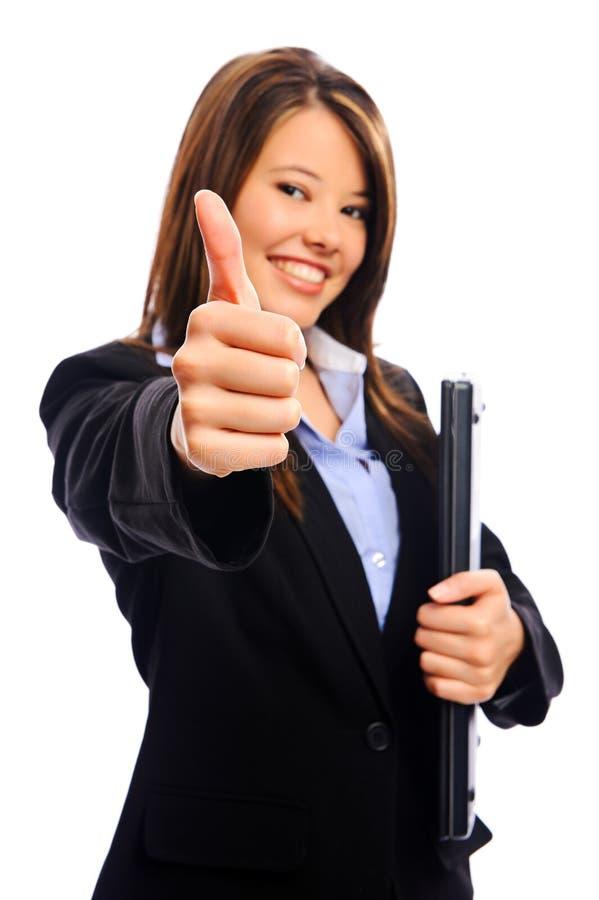 Επιχειρηματίας με τους αντίχειρες επάνω στοκ φωτογραφίες