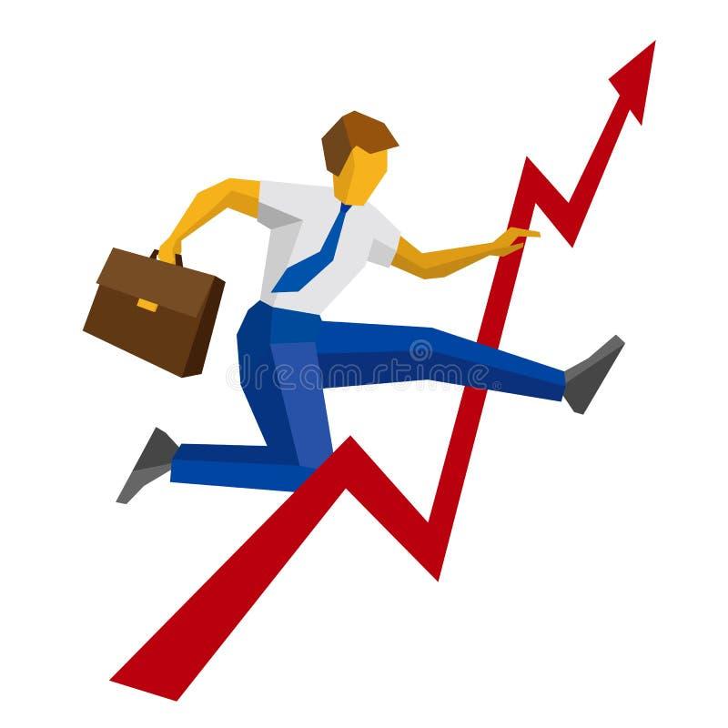 Επιχειρηματίας με το άλμα περίπτωσης πέρα από τη μείωση στο διάγραμμα απεικόνιση αποθεμάτων