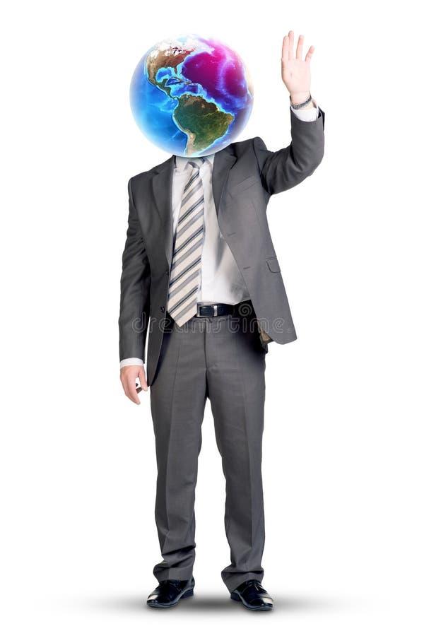 Επιχειρηματίας με το γήινους αντ' αυτού κεφάλι και το βραχίονα επάνω στοκ φωτογραφίες