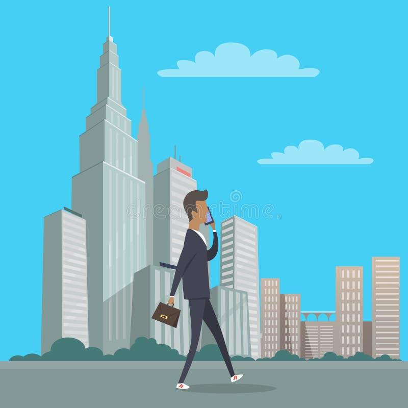 Επιχειρηματίας με το διαθέσιμο περπάτημα τσαντών στο κέντρο της πόλης διανυσματική απεικόνιση
