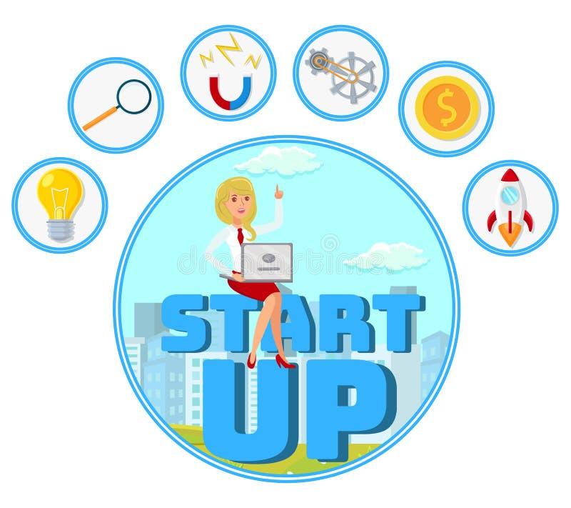 Επιχειρηματίας με το διανυσματικό έμβλημα Ιστού ιδέας ξεκινήματος ελεύθερη απεικόνιση δικαιώματος