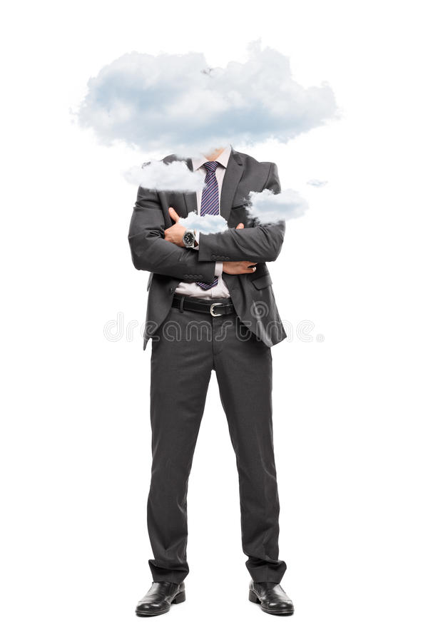 Επιχειρηματίας με το κεφάλι του επάνω στα σύννεφα στοκ εικόνα