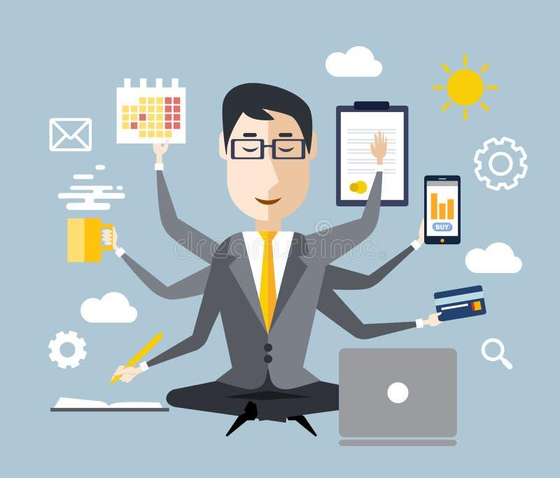 Επιχειρηματίας με το πολλαπλό καθήκον διανυσματική απεικόνιση