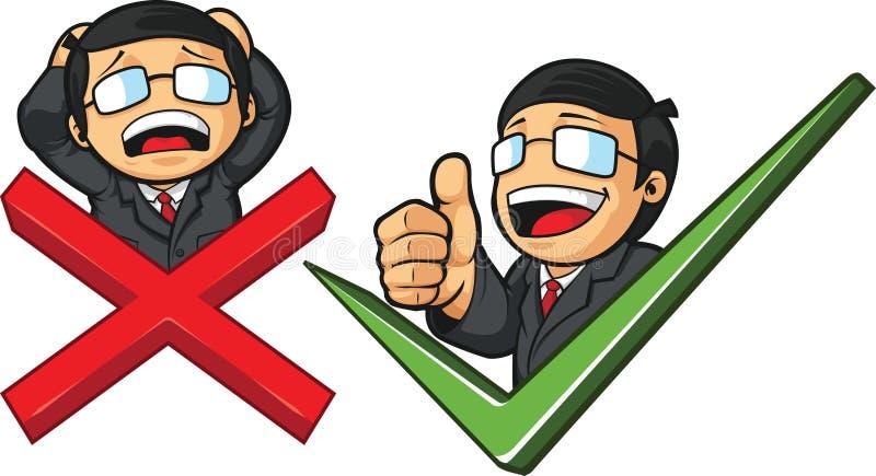 Επιχειρηματίας με το σημάδι & το σταυρό ελέγχου διανυσματική απεικόνιση