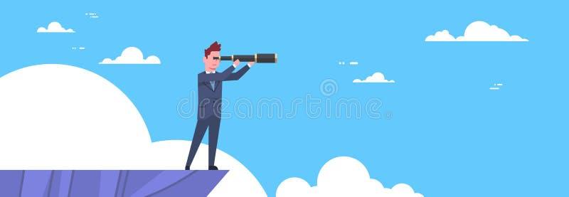 Επιχειρηματίας με το τηλεσκόπιο που ψάχνει την επιτυχία, ευκαιρίες, επιχείρηση από την κορυφή βουνών, έννοια οράματος ελεύθερη απεικόνιση δικαιώματος