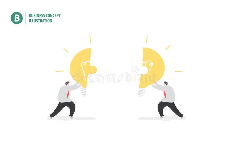 Επιχειρηματίας με το τορνευτικό πριόνι βολβών που σημαίνει τη συνεργασία ή την ομαδική εργασία διανυσματική απεικόνιση