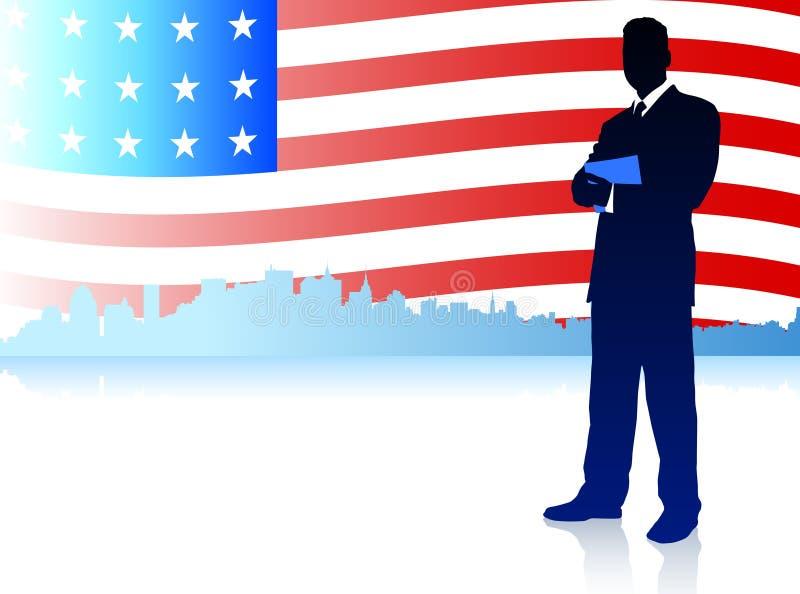 Επιχειρηματίας με το υπόβαθρο αμερικανικών σημαιών διανυσματική απεικόνιση