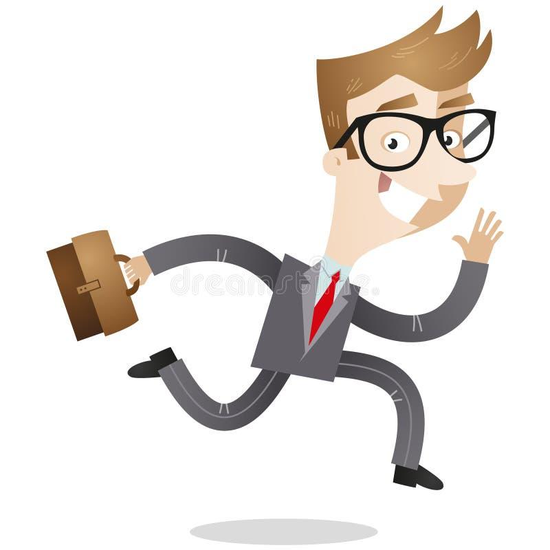 Επιχειρηματίας με το χαρτοφύλακα που τρέχει στην εργασία απεικόνιση αποθεμάτων