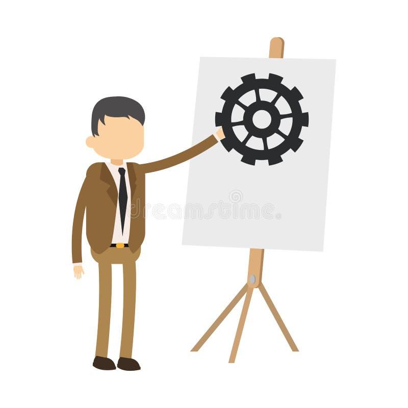 Επιχειρηματίας με το whiteboard ελεύθερη απεικόνιση δικαιώματος