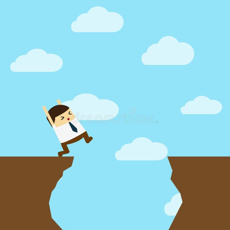 Επιχειρηματίας μπροστά από ένα χάσμα διανυσματική απεικόνιση