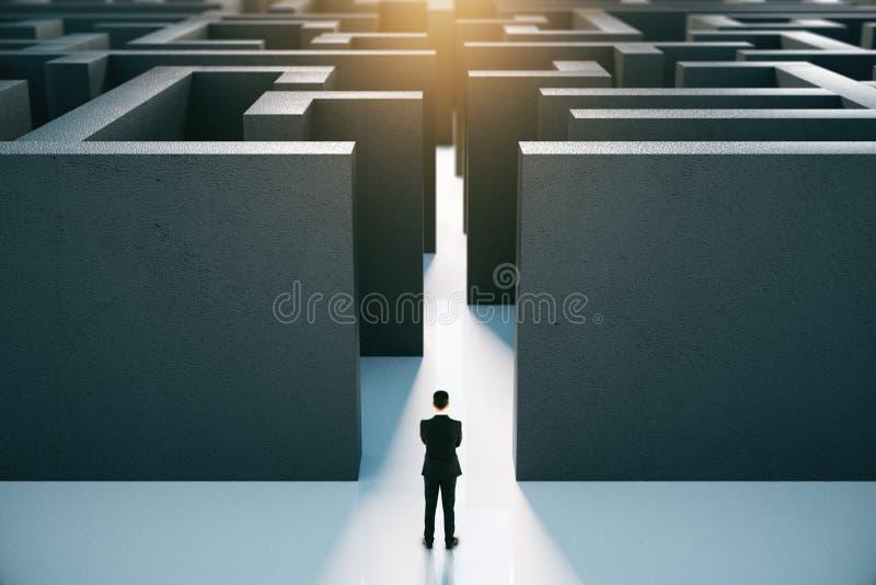 Επιχειρηματίας μπροστά από το λαβύρινθο διανυσματική απεικόνιση