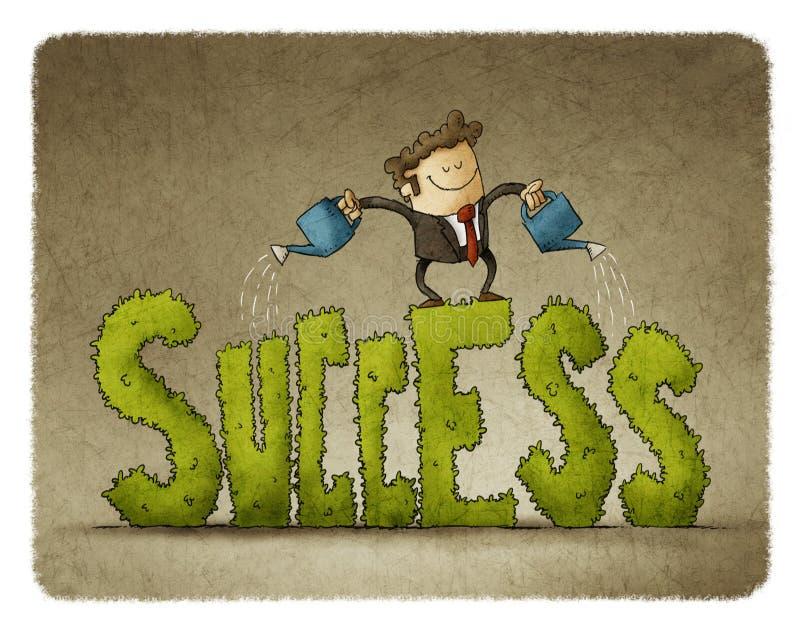 Επιχειρηματίας πάνω από την επιτυχία λέξης με τη μορφή και το πότισμα εγκαταστάσεων του ελεύθερη απεικόνιση δικαιώματος