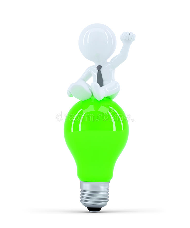 Επιχειρηματίας πάνω από τον πράσινο βολβό. Έννοια επιχειρησιακής ιδέας διανυσματική απεικόνιση